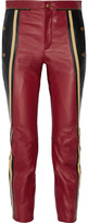 Chloé Striped Leather Straight-leg Pants - Burgundy
