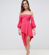 Asos Bardot Midi Dress With Tiered Wrap Skirt