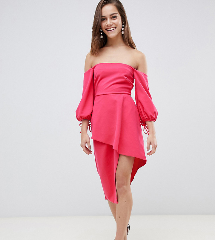 Asos Bardot Midi Dress With Tiered Wrap Skirt-Pink