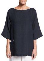 eskandar 3/4-Sleeve Two-Tone Linen T-Shirt, Navy/White