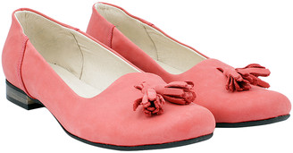 ZAPATO Women's Ballet Flats red - Coral Smooth Tassel-Accent Leather Flat - Women