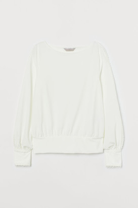 H&M Top with Lace Trim - White