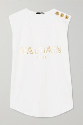 Balmain Button-embellished Printed Cotton-jersey Tank - White