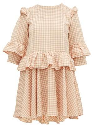 story. Mfg - Tulsi Gingham Organic Cotton Mini Dress - Womens - Pink Multi