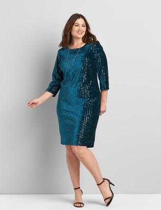 Lane Bryant Velvet & Sequin Sheath Dress