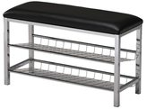 K and B Furniture Co Inc Chrome and Black Vinyl Shoe Rack Storage Bench