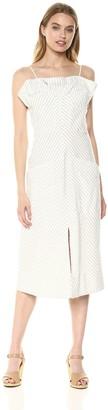 Rebecca Taylor Women's Sleeveless Stripe Ruffle Dress