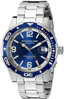Stuhrling Original Men's Quartz Watch with Blue Dial Analogue Display and Silver Stainless Steel Bracelet 415.02