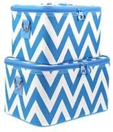 Chevron Print 2 Piece Train Case Luggage Set Toiletry Cosmetic Makeup Bag (Aqua) by scarlettsbags