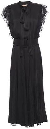 Michael Kors Pussy-bow Lace-paneled Ruffle-trimmed Satin-crepe Midi Dress