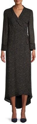 Ganni Striped Maxi Wrap Dress