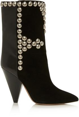 Isabel Marant Layo Studded Leather-Paneled Velvet Ankle Boots