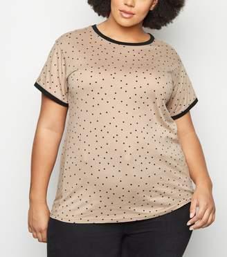 New Look Curves Spot Ringer T-Shirt