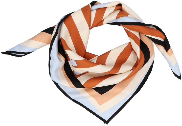Thumbnail for your product : Fendi Logo Printed Striped Scarf