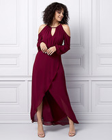 Le Château Chiffon Cold Shoulder Wrap-Like Gown