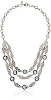 Swarovski 1928 Jewelry Silver-Tone Filigree Strand Necklace with Blue Crystals , 18""