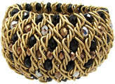 One Kings Lane Vintage Woven Metal Bracelet with Glass Beads