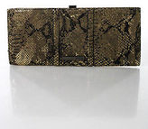 Kenneth Cole Reaction Brown Black Leather Gold Sheer 3 Pocket Clutch Medium