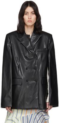 we11done Black Faux-Leather Cape Blazer