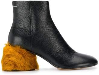 MM6 MAISON MARGIELA lamb fur heeled ankle boots