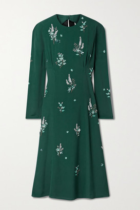 Erdem Velvet-trimmed Embellished Cutout Crepe Midi Dress - Emerald