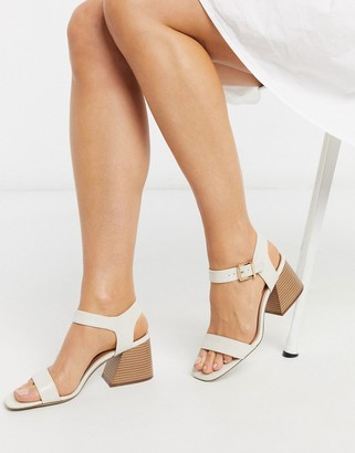 New Look croc flare heeled sandals in off white