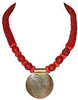 One Kings Lane Vintage Coral and Brass Pendant Necklace