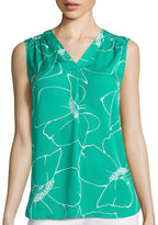 Liz Claiborne Sleeveless Floral Blouse - Tall