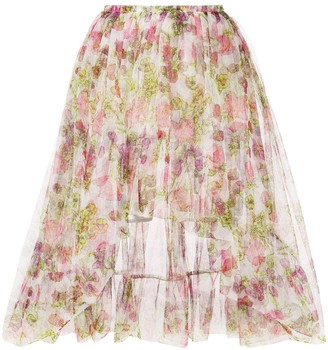 Molly Goddard Floral Print Mesh Flared Skirt