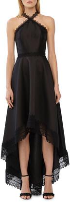 ML Monique Lhuillier High-Low Lace-Trim Mikado Halter Gown