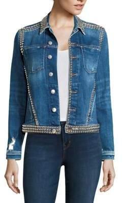 L'Agence Celine Embellished Denim Jacket