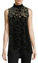 Elie Tahari Murray Sleeveless Mock-Neck Crushed Velvet Top