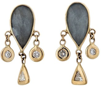 Jacquie Aiche 14kt Yellow Gold Teardrop Labradorite And Diamond Shaker Earrings