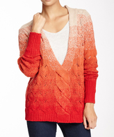 Sisters Red & Beige Ombré V-Neck Pullover Sweater