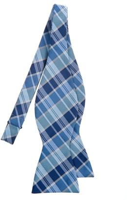 Retreez Modern Tartan Check Styles Woven Microfiber Self Tie Bow Tie - Blue
