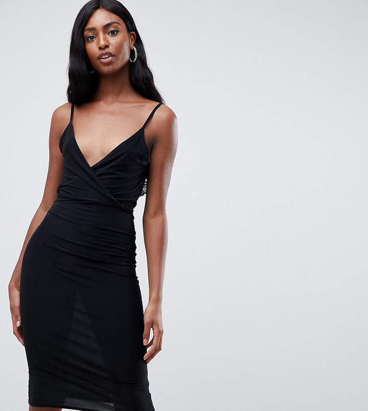 Missguided Tall slinky lace back midi dress in black