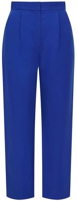 Femponiq High Waisted Cropped Cotton Trouser Royal Blue