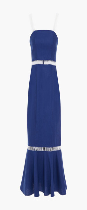 STAUD Lattice-trimmed Fluted Linen-blend Midi Dress