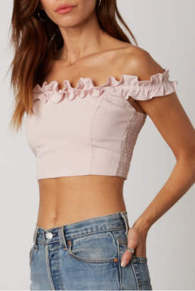 Cotton Candy OTS Ruffle Crop Top