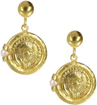 Roman Coin & Pearl Drop Earrings