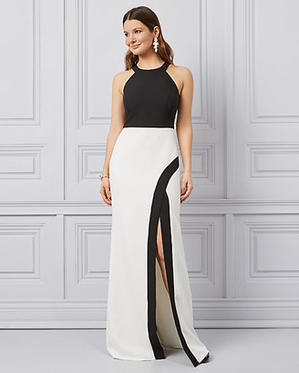 Le Château Colour Block Bi-Stretch Twill Halter Gown