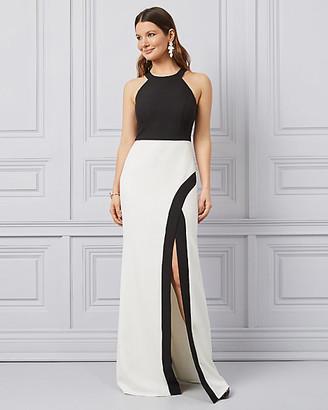 Le Château Colour Block Bi-Stretch Twill Halter Gown
