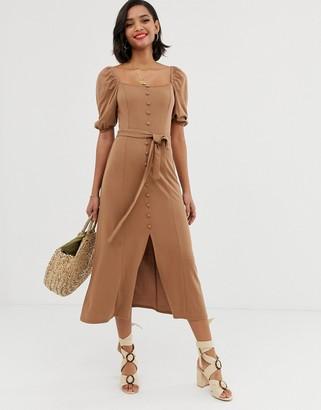 Asos Design DESIGN midi button through square neck dress with belt-Beige