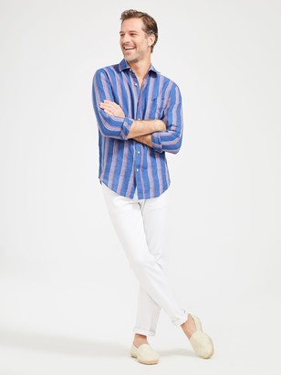 J.Mclaughlin Gramercy Classic Fit Linen Shirt in Stripe