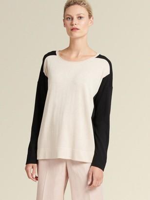 DKNY Donna Karan Women's Colorblock Pullover - Oatmeal - Size S