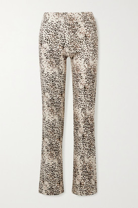 Leset Jamie Ribbed Leopard-print Stretch-modal Wide-leg Pants - Leopard print