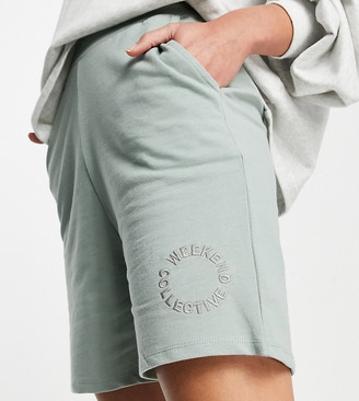 Asos Tall ASOS DESIGN Weekend Collective Tall co-ord sweat shorts with logo in sage green