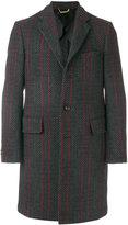 Versace herringbone and stripe pattern coat
