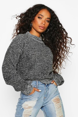 boohoo Petite Waffle Knit Marl Knitted Jumper