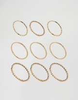 Asos Pack of 9 Fine Minimal Rings